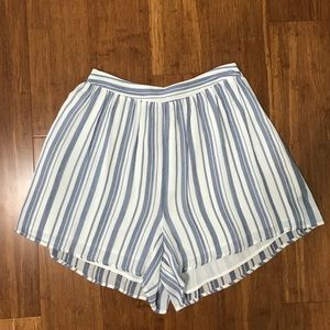 LUSH Blue and White Striped Shorts